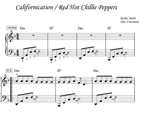 תווים - Californication - Red Hot Chillie Peppers